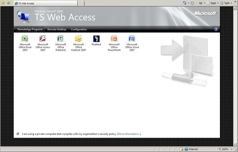 2008 TS Terminal Server RemoteApp WebApp